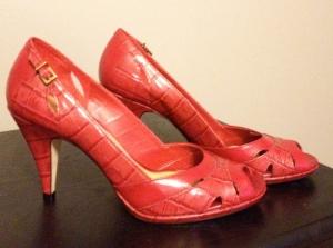 Red peep-toe heels